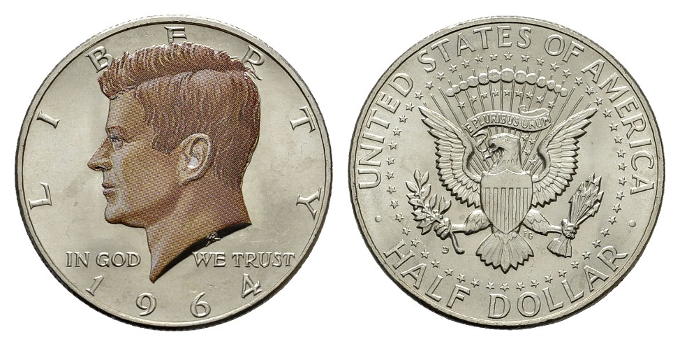 MGS USA 1/2 Dollar 1964 John F. Kennedy in Farbe