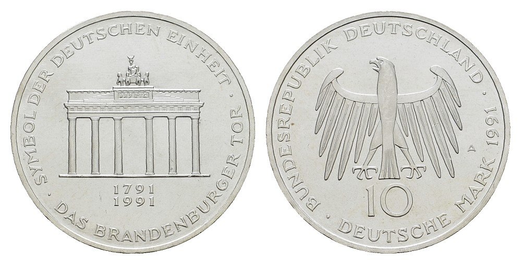 MGS BRD 10 DM 1991 A Brandenburger Tor Feingewicht: 9,7g