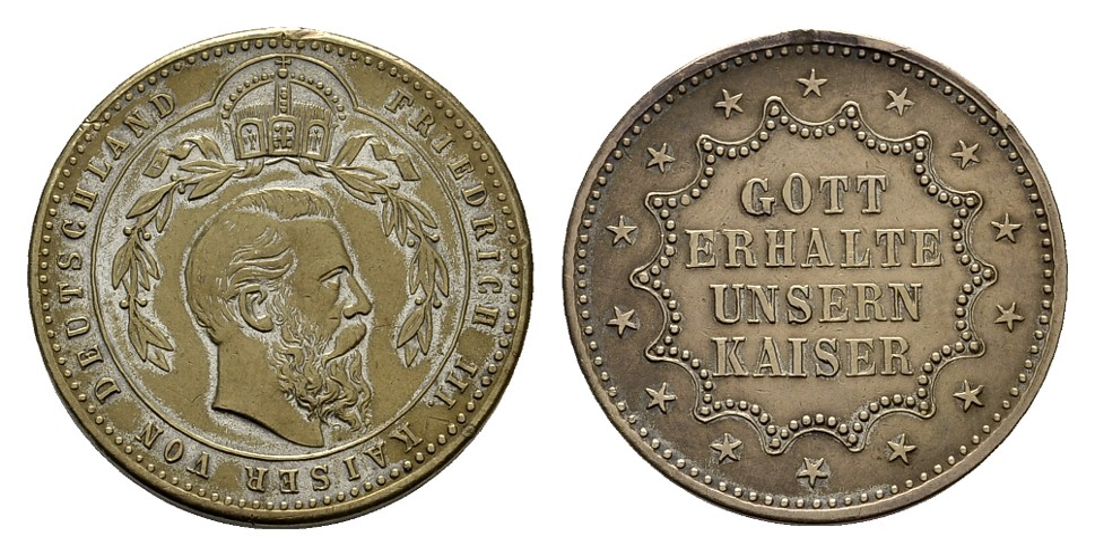 MGS Preussen kleine Medaille o.J. (1888) Friedrich III. // Gott erhalte unsern Kaiser
