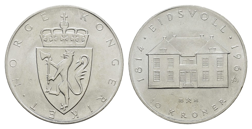 MGS Norwegen 10 Kroner 1964 Feingewicht: 18,00g