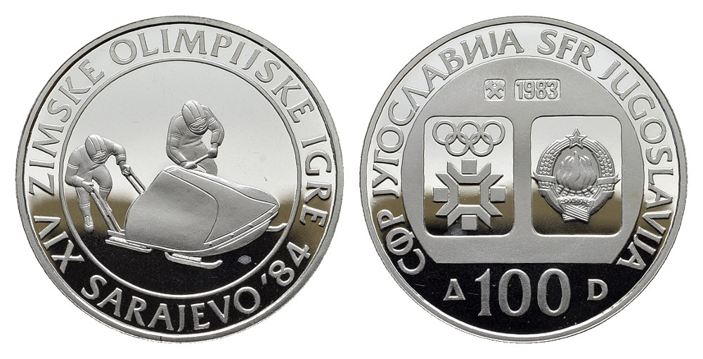 MGS Jugoslawien 100 Dinara 1983 Olympiade Sarajevo 1984 Bobfahren Feingewicht: 12,03g