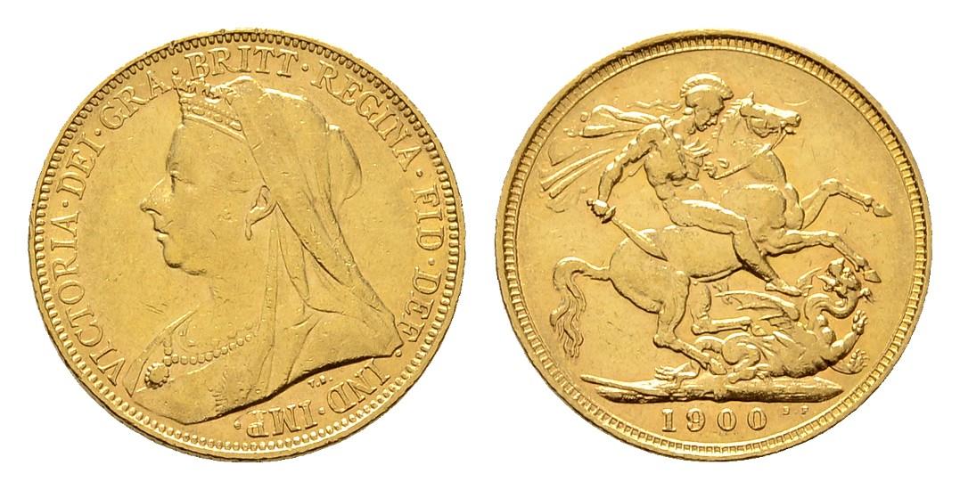 Linnartz Australien Viktoria 1 Sovereign 1900 M-Melbourne ss-vz Gewicht: 7,99g/917er