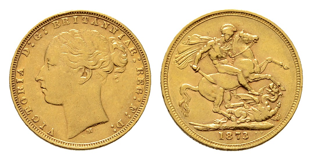 Linnartz Australien Viktoria 1 Sovereign 1873 M-Melbourne ss-vz Gewicht: 7,96g/917er
