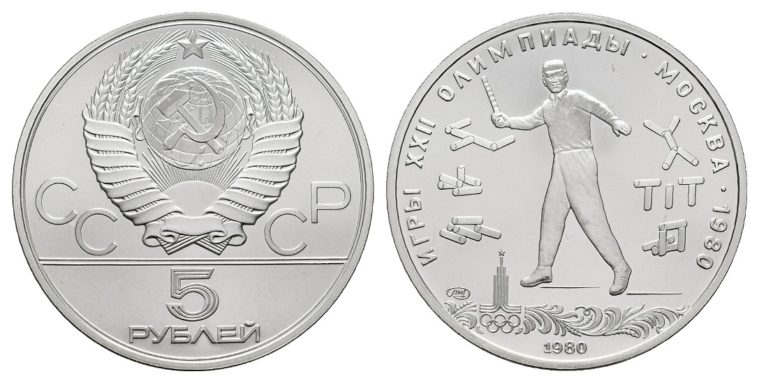 MGS Russland 5 Rubel 1980 Olympiade Moskau 1980 Gorodki Feingewicht: 15,0g
