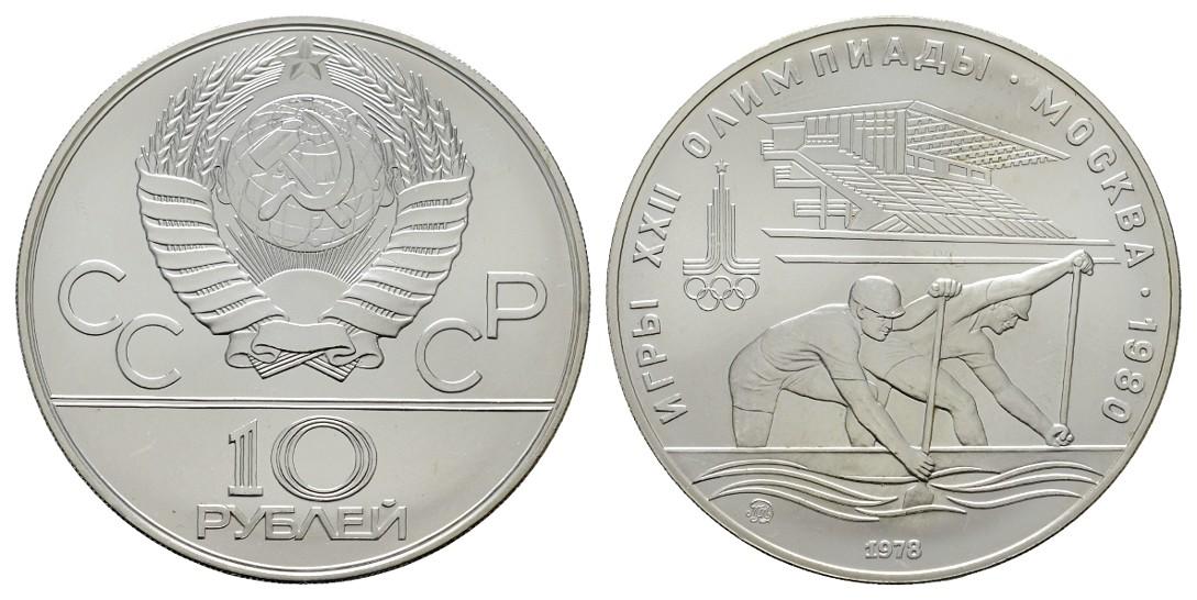 MGS Russland 10 Rubel 1978 Olympiade Moskau 1980 Rudern Feingewicht: 29,97g