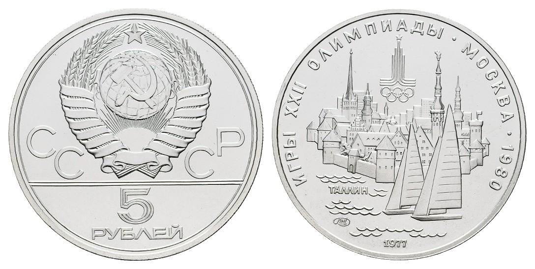 MGS Russland 5 Rubel 1977 Olympiade Moskau 1980 Stadtansicht Tallinn Feingewicht: 15,0g