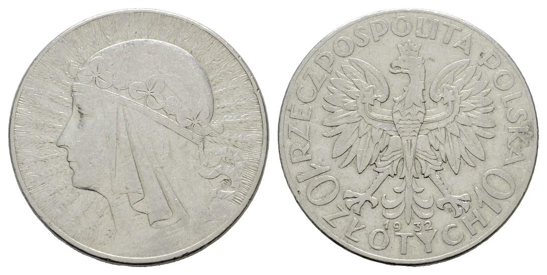 MGS Polen 10 Zloty 1932 Königin Jadwiga Feingewicht: 16,5g