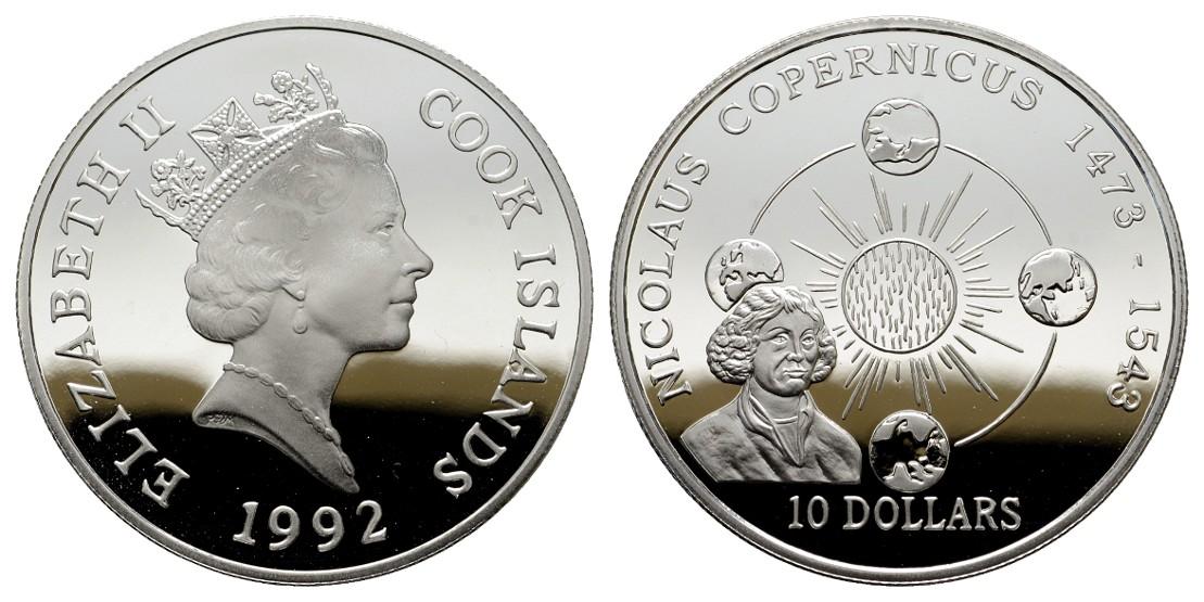 MGS Cook Islands 10 Dollars 1992 Kopernikus PP Feingewicht: 29,11g