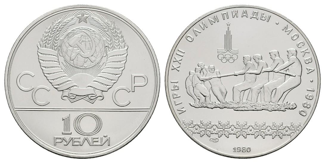 MGS Russland 10 Rubel 1980 Olympiade Moskau 1980 Tauziehen Feingewicht: 30,0g