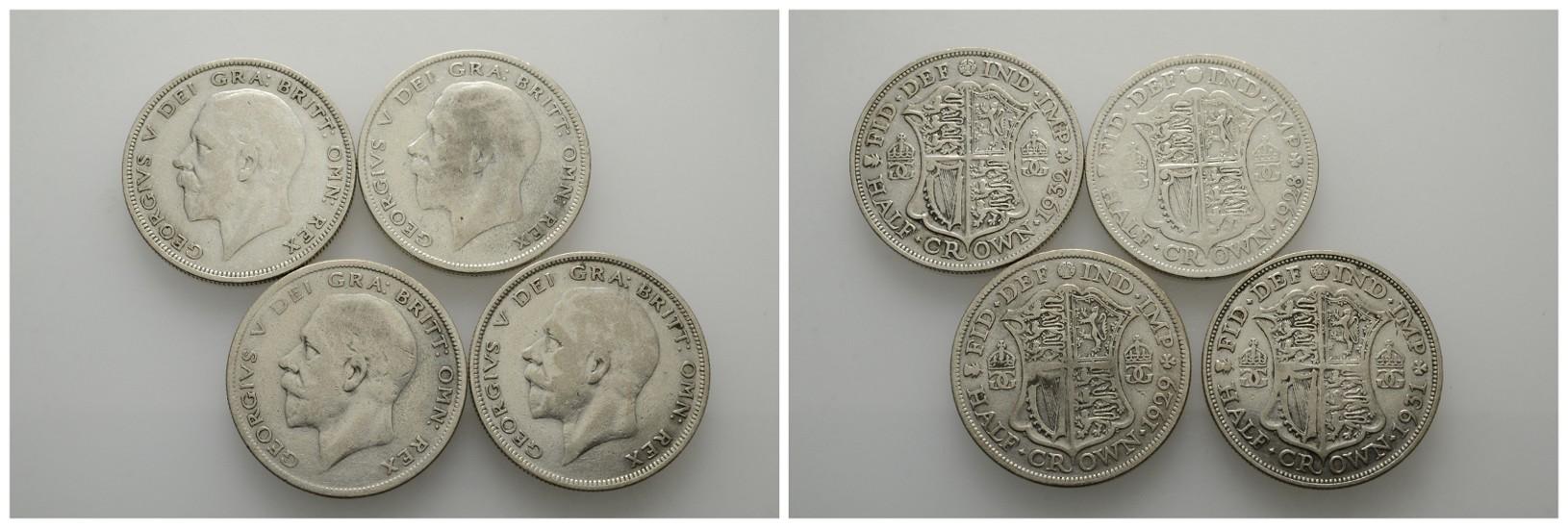 MGS Großbritannien Lot 4x 1/2 Crown 1928,29,31,32 Feingewicht: 27,8g