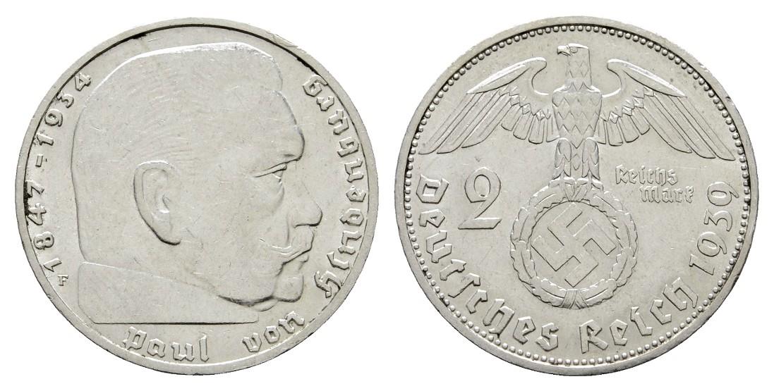 MGS III. Reich 2 Reichsmark 1937 F Hindenburg Feingewicht 5,0g