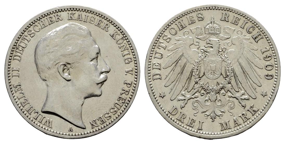 MGS Preussen Wilhelm II. 3 Mark 1909 A ss