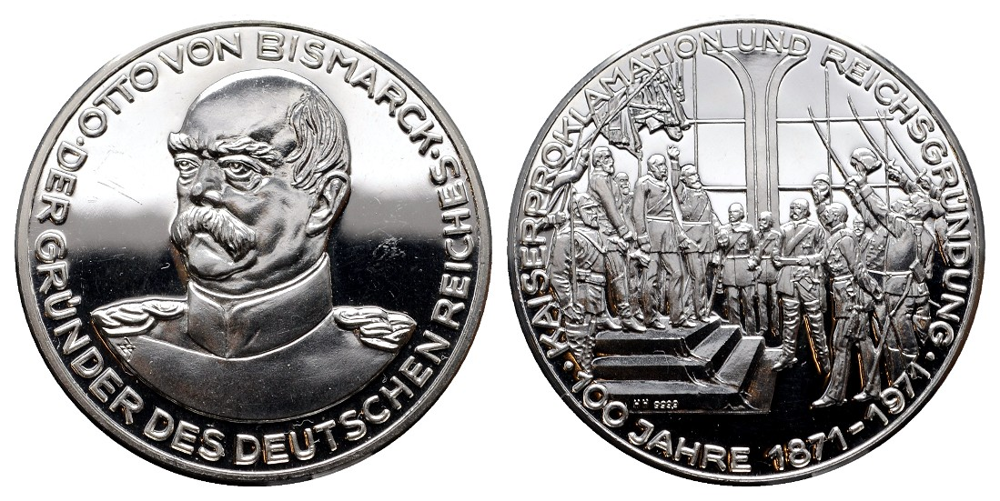 MGS Bismarck Silbermedaille 1971 100 Jahre Kaiserproklamation PP Gewicht: 15,0g/999er