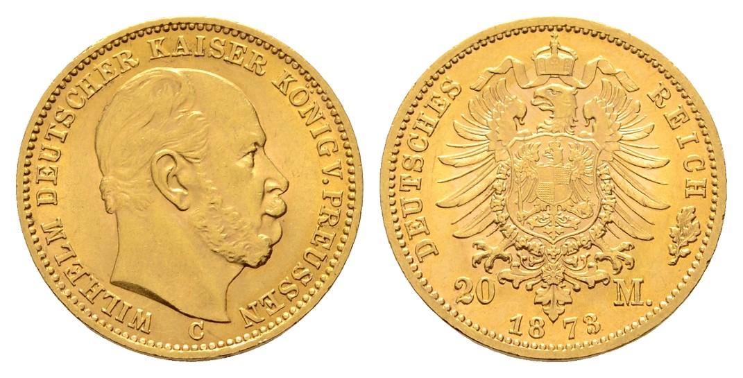 Linnartz Preussen Wilhelm I. 20 Mark 1873 C vz-stgl Gewicht: 7,97g/900er