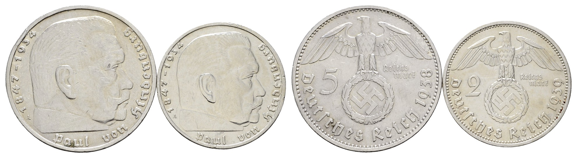 MGS III. Reich 5 Reichsmark 1938 A kl.Rdf. + 2 Reichsmark 1939 A Hindenburg