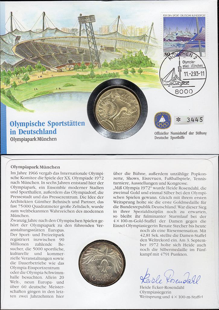 MGS BRD Numisbrief 10 DM 1972 D Olympiadach Feingewicht: 9,7g