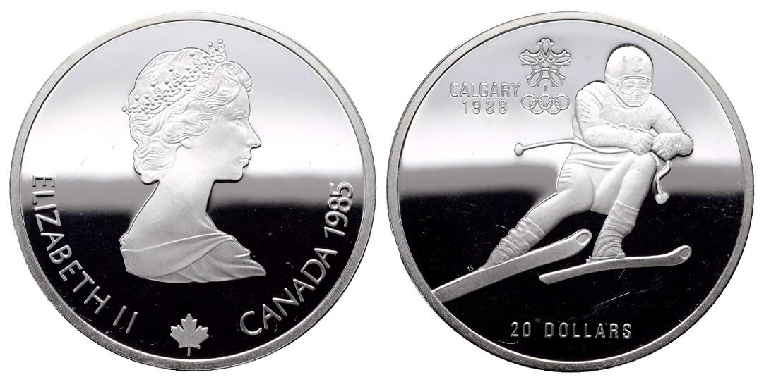 MGS Kanada 20 Dollars 1985 Calgary 1988 Abfahrtslauf PP Feingewicht: 31,10g
