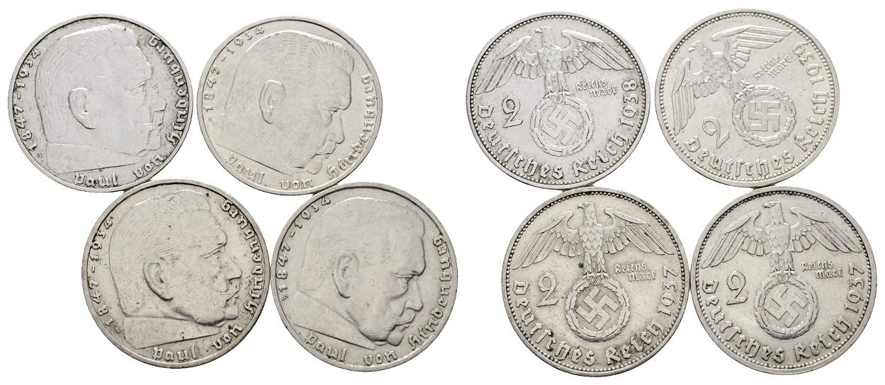 MGS III. Reich 4x 2 Reichsmark Hindenburg Feingewicht 5,0g