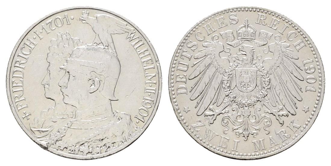 MGS Preussen Wilhelm II. 2 Mark 1901 200 Jahre Königreich Feingewicht: 9,94g
