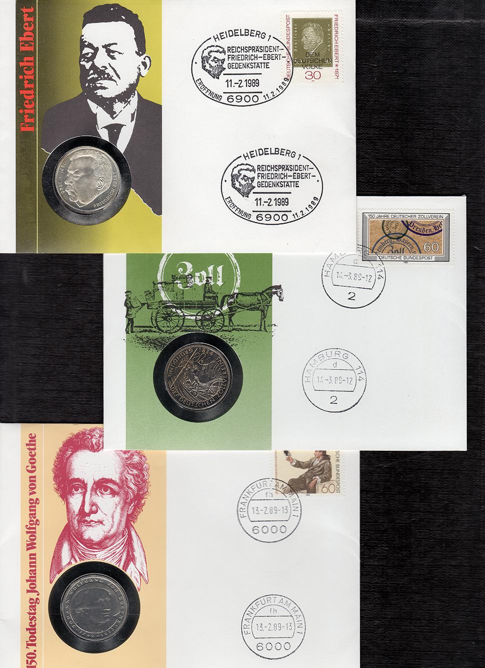 MGS BRD Lot Numisbriefe 5 DM Friedrich Ebert, Zollverein, Goethe Feingewicht: 7,0g
