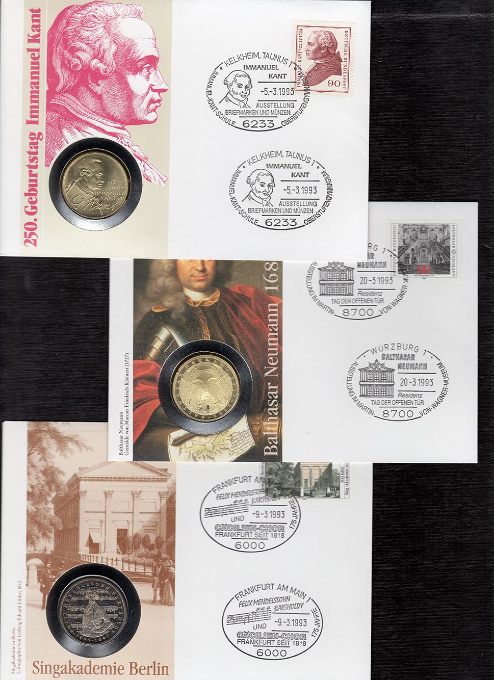 MGS BRD Lot Numisbriefe 5 DM Immanuel Kant, Balthasar Neumann, Felix Mendelssohn Feingewicht: 14,0g