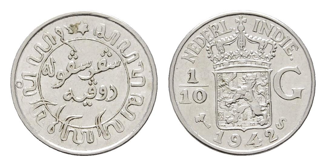 MGS Niederländisch Indien 1/10 Gulden 1942 Feingewicht: 0,86g