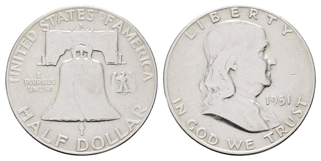 MGS USA 1/2 Dollar 1951 S Franklin Feingewicht: 11,25g