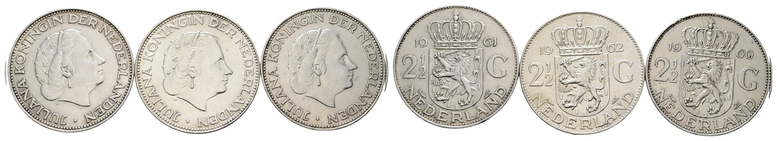 MGS Niederlande 2 1/2 Gulden 1960/1961/1962 Feingewicht: 32,4g