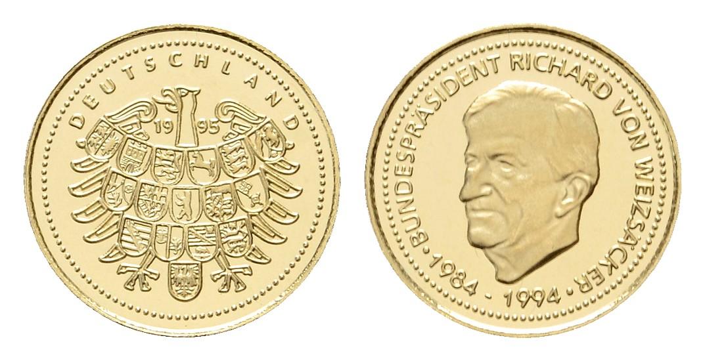 Linnartz Richard von Weizsäcker Goldmedaille 1995 a.d. Bundespräsidenten PP Gewicht: 1,2g/585er