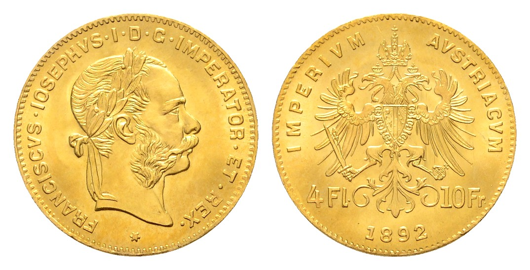 Linnartz Österreich Franz Josef I. 4 Florin 1892 NP stgl Gewicht: 3,23g/900er