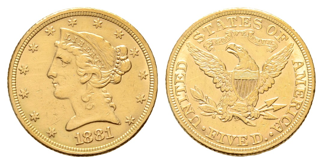Linnartz USA 5 Dollars 1981 Liberty stgl Gewicht: 8,36g/900er
