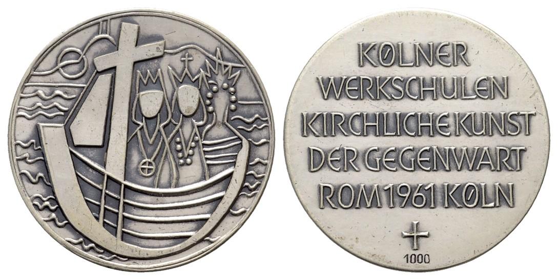 Linnartz Köln Feinsilbermedaille 1961 Kölner Werkschulen patiniert vz-stgl Gewicht: 18,72g