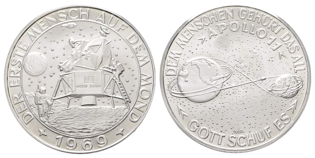 Linnartz Raumfahrt Feinsilbermedaille 1969 Apollo 11 stgl Gewicht: 24,7g/1.000er
