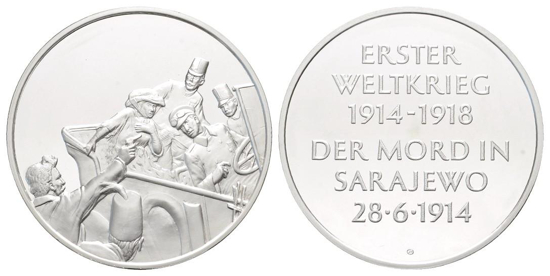 Linnartz 1. Weltkrieg Silbermedaille o.J. Attentat von Sarajevo PP Gewicht: 37,7g/925er
