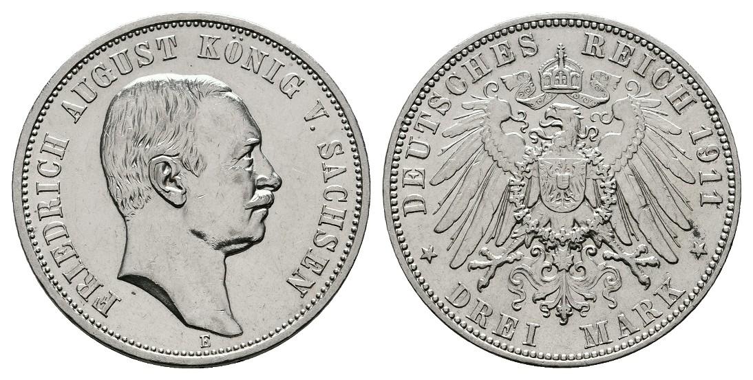 Linnartz KAISERREICH Sachsen Friedrich August 3 Mark 1911 E ss+