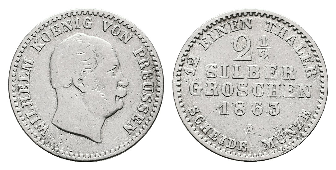 Linnartz Preussen Wilhelm I. 2 1/2 Silbergroschen 1863 A ss