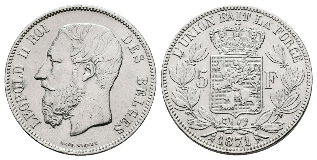 Linnartz Belgien Leopold II. 5 Francs 1871 ss-vz