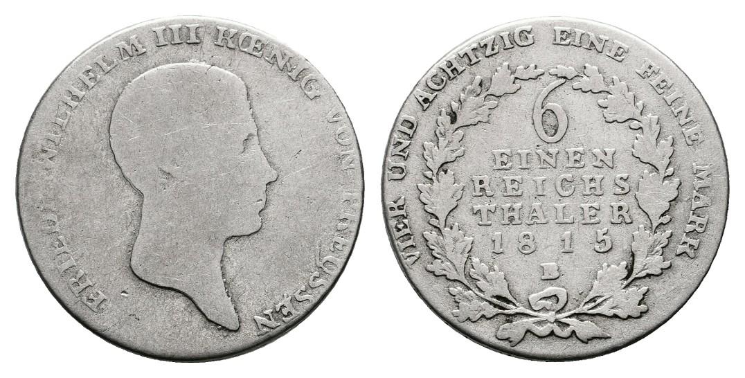 Linnartz Preussen Friedrich Wilhelm III. 1/6 Taler 1815 B s-ss