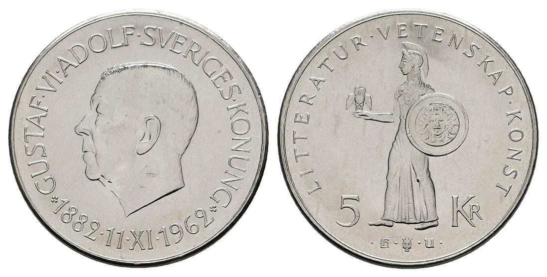 Linnartz Schweden Gustav VI. 5 Kronen 1962 a.d. 80.Geburtstag vz-stgl