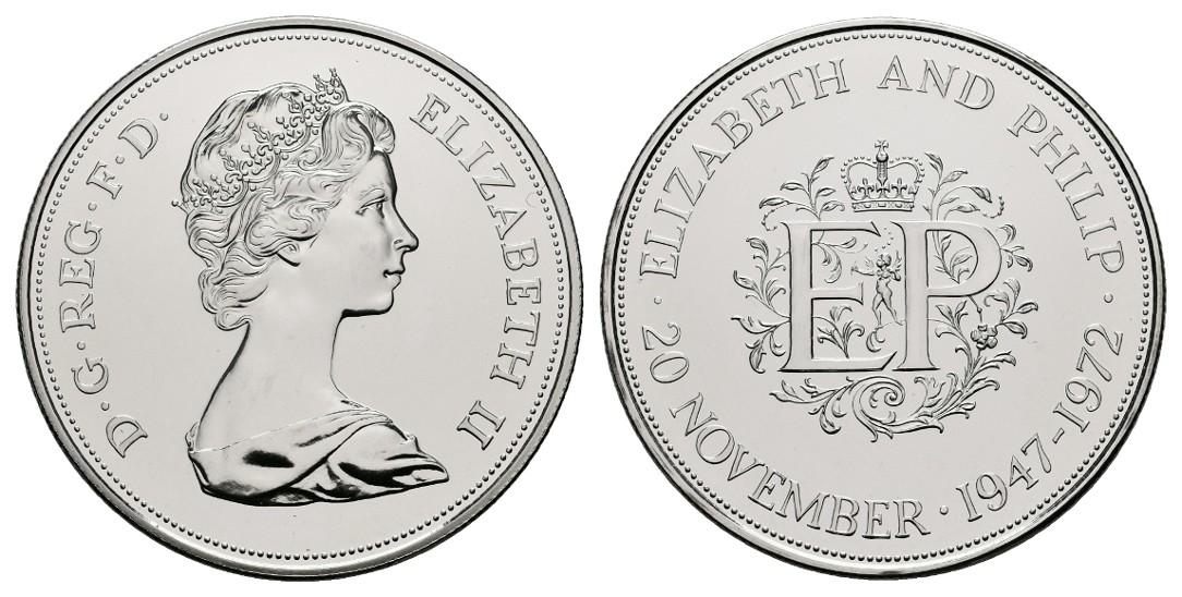 Linnartz Großbritannien Elizabeth II. 25 New Pence 1972 a.d. Silberhochzeit PP