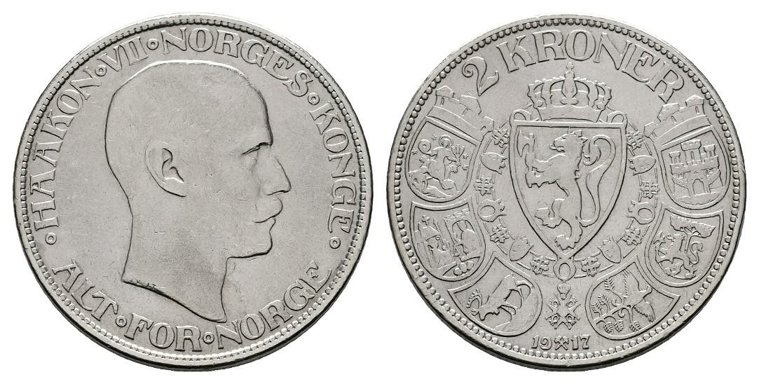 Linnartz Norwegen Haakon VII. 2 Kroner 1917 ss