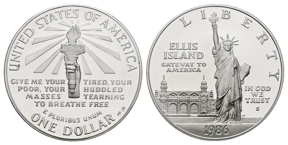 Linnartz USA 1 Dollar 1986 S Ellis Island PP