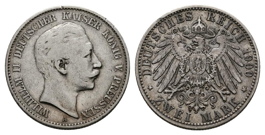 Linnartz KAISERREICH Preussen Wilhelm II. 2 Mark 1900 ss