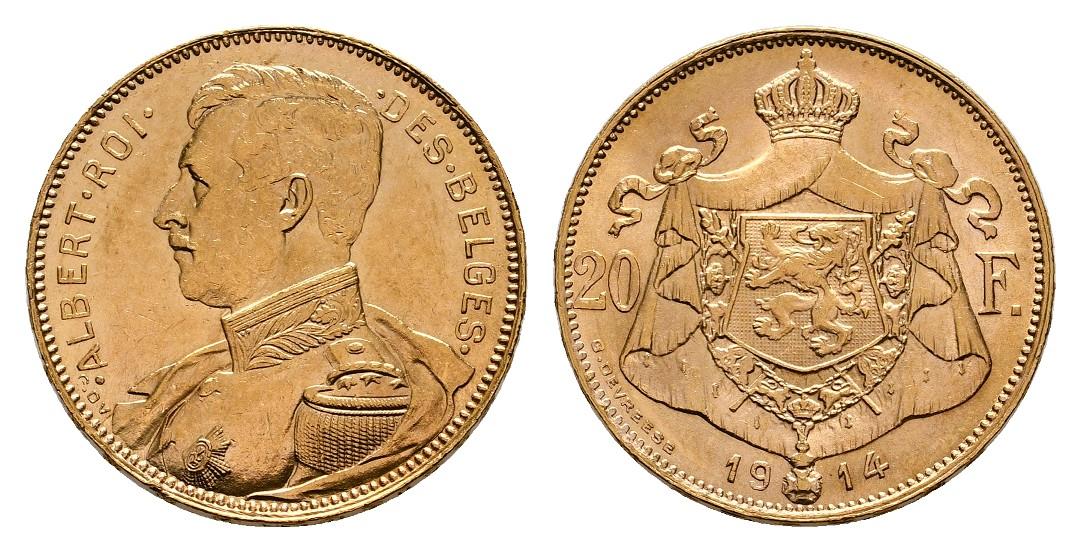 Linnartz Belgien Albert 20 Francs 1914 vz-stgl Gewicht: 6,45g/900er