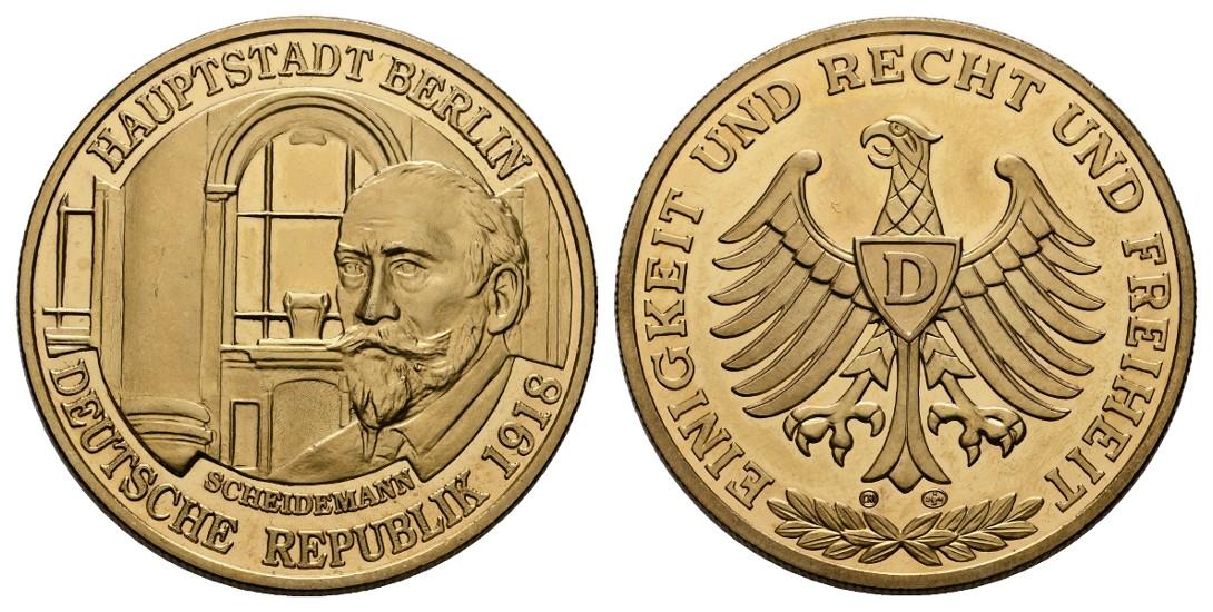 Linnartz Berlin vergoldete Silbermedaille o.J. Scheidemann PP Gewicht: 26,07g