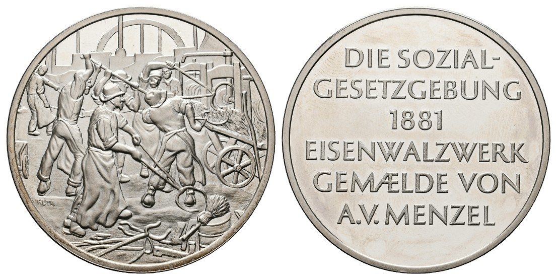 Linnartz Silbermedaille o.J. (Huta) Soziale Gesetzgebung 1881/Eisenwalzwerk PP Gewicht: 40,3g/925er