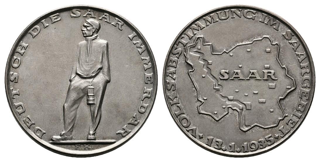 Linnartz Deutschland Silbermedaille 1935(F.K.)Volksabstimmung im Saargebiet Gewicht: 24,9g/835er