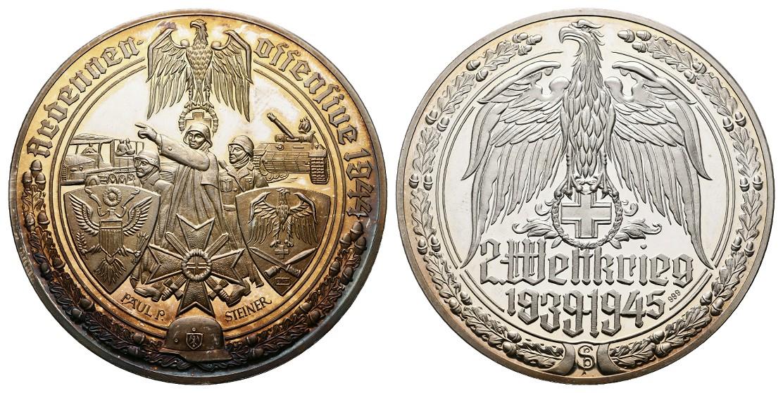 Linnartz 2. Weltkrieg Silbermedaille (Steiner) Ardennenoffensive 1944 PP Gewicht: 35,1g/999er
