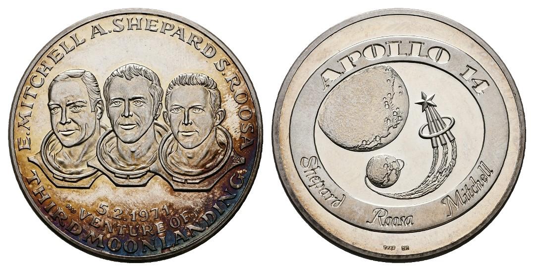 Linnartz Raumfahrt Feinsilbermedaille 1971 Apollo 14 PP Gewicht: 15,0g/999er