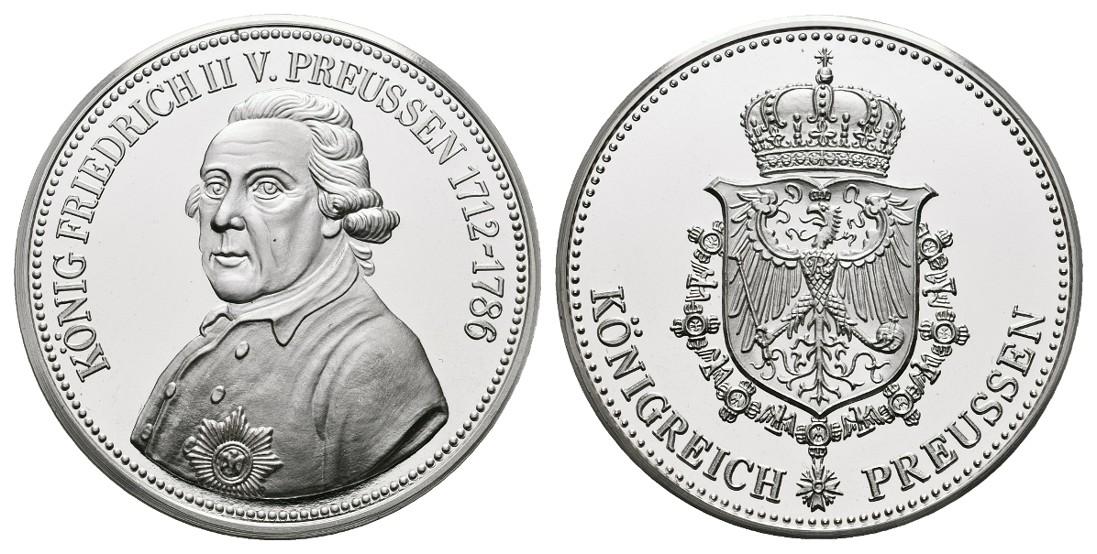 Linnartz Preussen Friedrich der Große Feinsilbermedaille o.J. PP Gewicht: 19,8g/999er